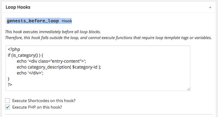 Category Description Simple Hook