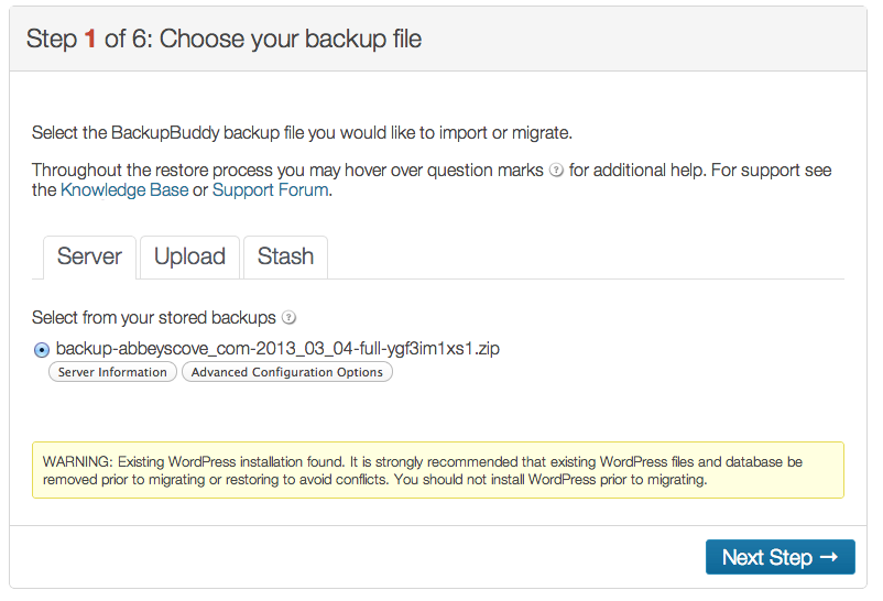 BackupBuddy Choosing your backup file